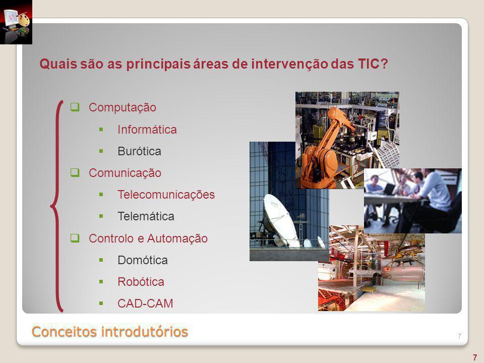 Conceitos introdutórios 7 Quais são as principais áreas de intervenção das TIC?  Computação  Informática  Burótica  Comunicação  Telecomunicações