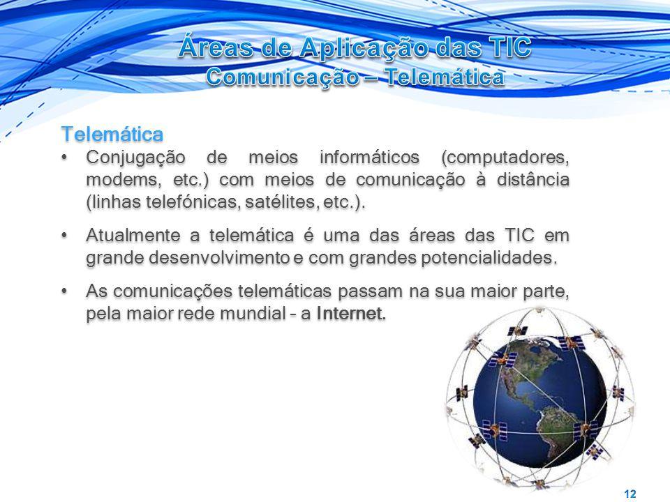 Telemática Conjugação de meios informáticos (computadores, modems, etc.) com meios de comunicação à distância (linhas telefónicas, satélites, etc.). A