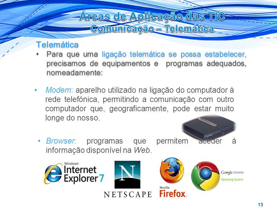 Telemática Para que uma ligação telemática se possa estabelecer, precisamos de equipamentos e programas adequados, nomeadamente: Telemática Para que u
