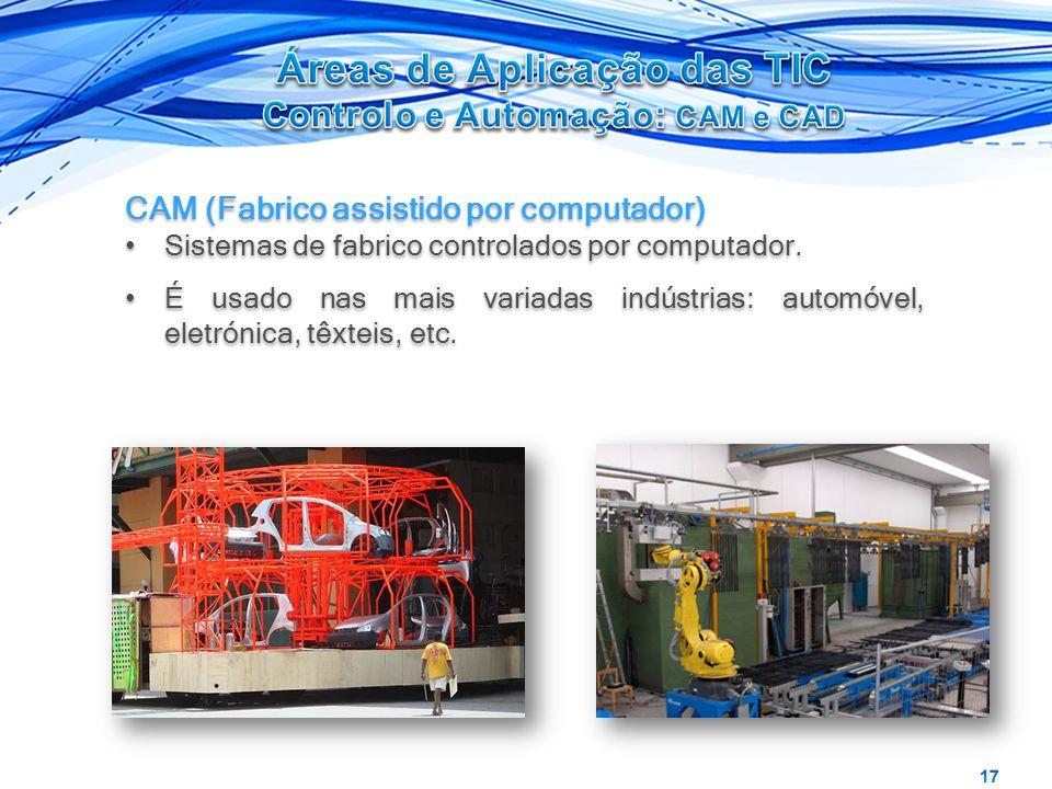 CAM (Fabrico assistido por computador) Sistemas de fabrico controlados por computador. É usado nas mais variadas indústrias: automóvel, eletrónica, tê