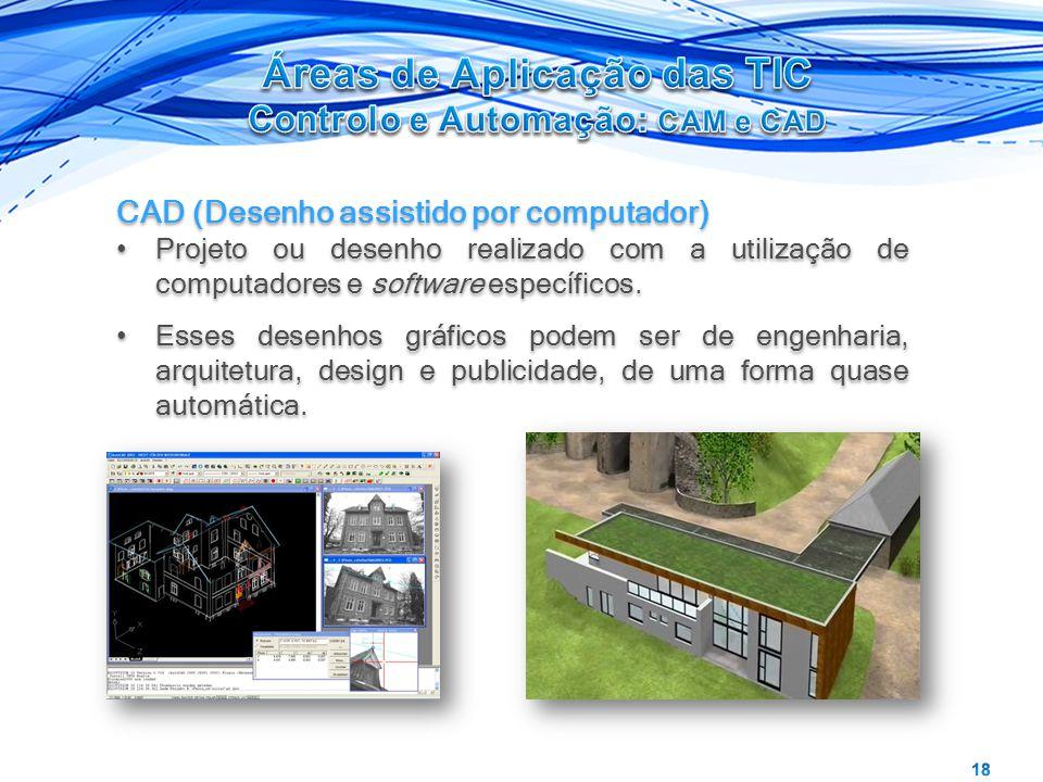 CAD (Desenho assistido por computador) Projeto ou desenho realizado com a utilização de computadores e software específicos. Esses desenhos gráficos p