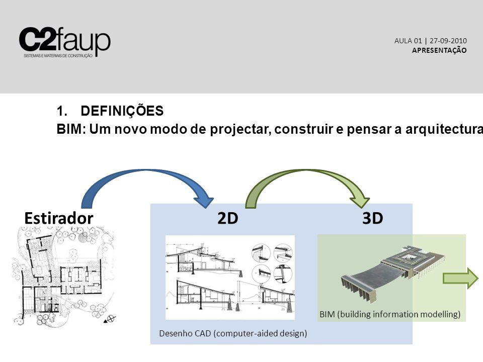 1.DEFINIÇÕES BIM: Um novo modo de projectar, construir e pensar a arquitectura AULA 01 | 27-09-2010 APRESENTAÇÃO Estirador2D3D Desenho CAD (computer-aided design) BIM (building information modelling)