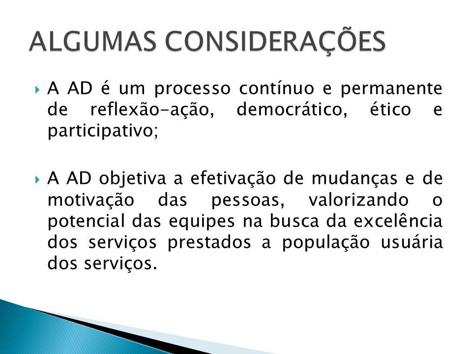  A AD é um processo contínuo e permanente de reflexão-ação, democrático, ético e participativo;  A AD objetiva a efetivação de mudanças e de motivação das pessoas, valorizando o potencial das equipes na busca da excelência dos serviços prestados a população usuária dos serviços.