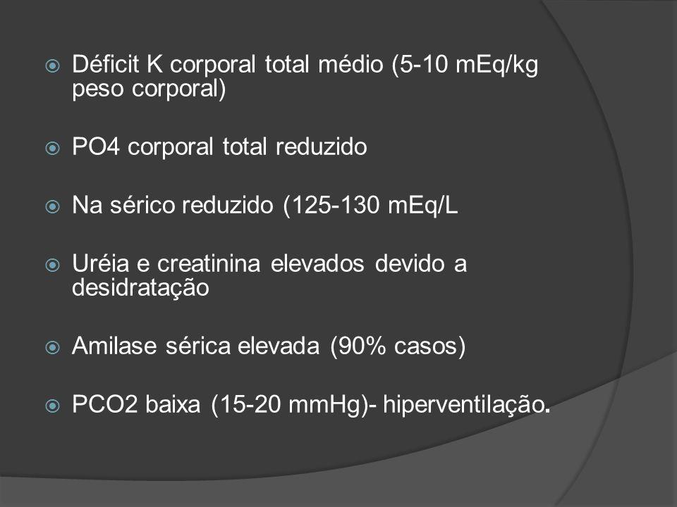  Déficit K corporal total médio (5-10 mEq/kg peso corporal)  PO4 corporal total reduzido  Na sérico reduzido (125-130 mEq/L  Uréia e creatinina elevados devido a desidratação  Amilase sérica elevada (90% casos)  PCO2 baixa (15-20 mmHg)- hiperventilação.