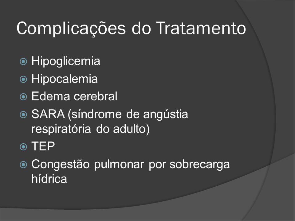 Complicações do Tratamento  Hipoglicemia  Hipocalemia  Edema cerebral  SARA (síndrome de angústia respiratória do adulto)  TEP  Congestão pulmonar por sobrecarga hídrica