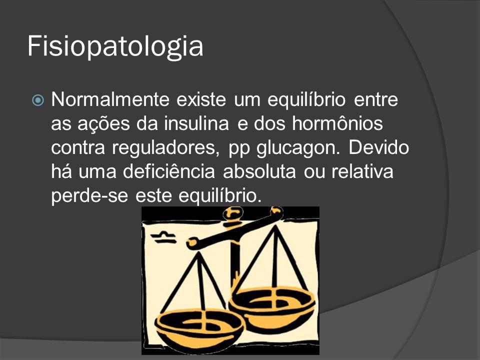 Fisiopatologia  Normalmente existe um equilíbrio entre as ações da insulina e dos hormônios contra reguladores, pp glucagon. Devido há uma deficiênci
