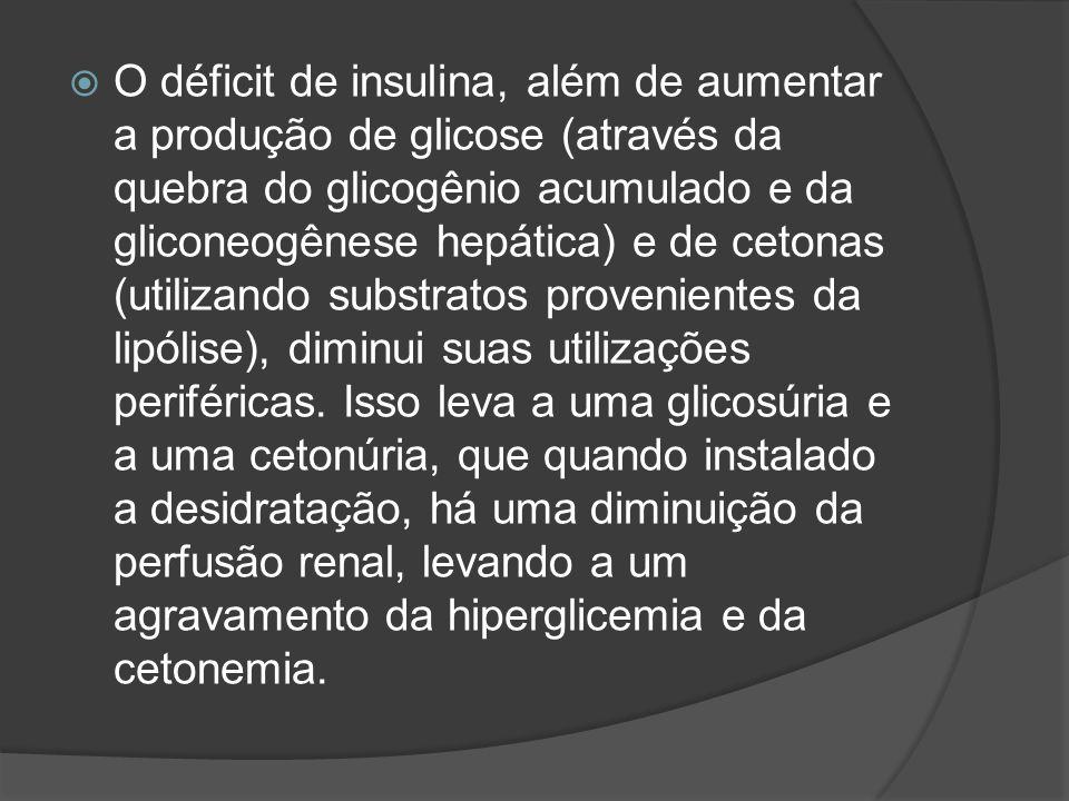  O déficit de insulina, além de aumentar a produção de glicose (através da quebra do glicogênio acumulado e da gliconeogênese hepática) e de cetonas