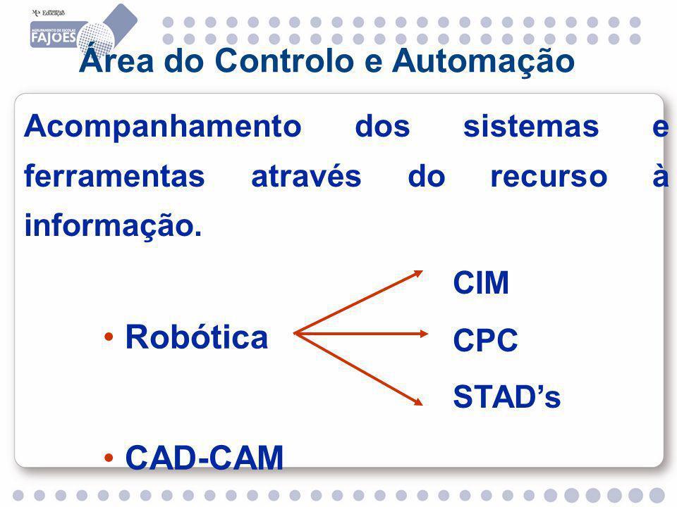 Área do Controlo e Automação Acompanhamento dos sistemas e ferramentas através do recurso à informação.