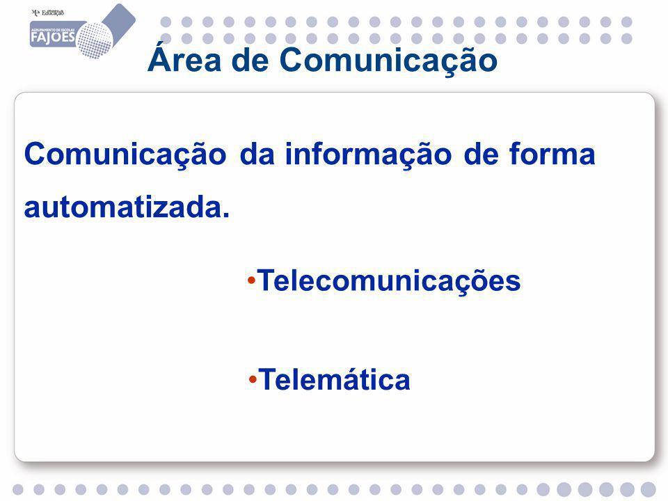 Área de Comunicação Comunicação da informação de forma automatizada. Telecomunicações Telemática