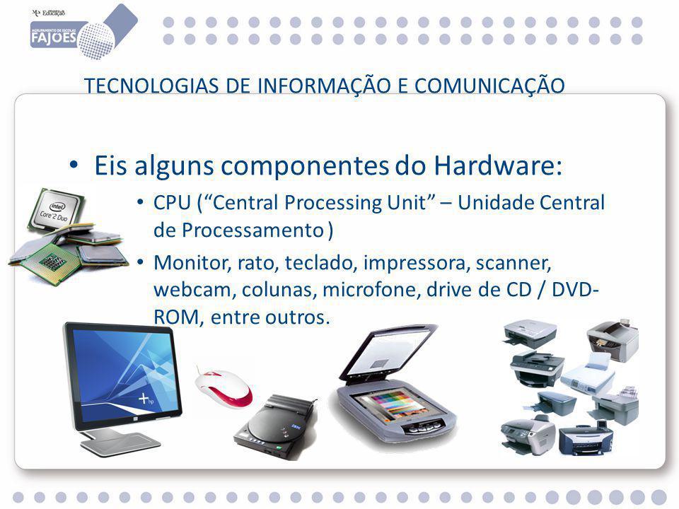 TECNOLOGIAS DE INFORMAÇÃO E COMUNICAÇÃO Eis alguns componentes do Hardware: CPU ( Central Processing Unit – Unidade Central de Processamento ) Monitor, rato, teclado, impressora, scanner, webcam, colunas, microfone, drive de CD / DVD- ROM, entre outros.