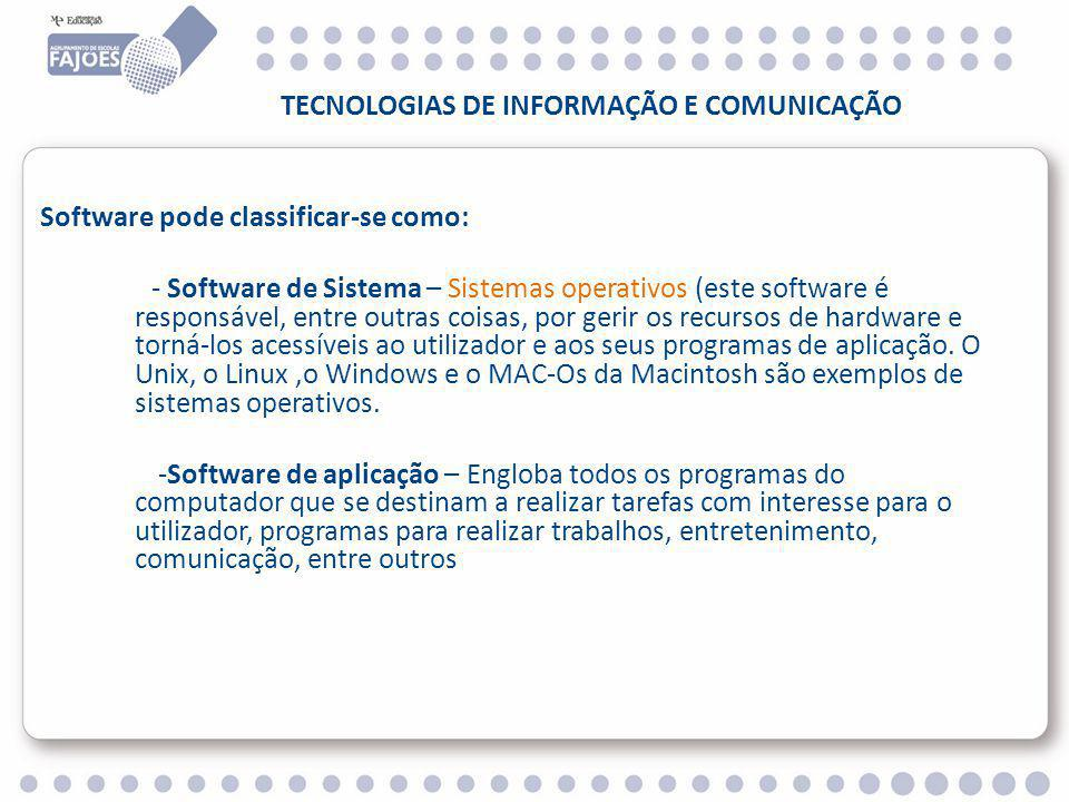 TECNOLOGIAS DE INFORMAÇÃO E COMUNICAÇÃO Software pode classificar-se como: - Software de Sistema – Sistemas operativos (este software é responsável, entre outras coisas, por gerir os recursos de hardware e torná-los acessíveis ao utilizador e aos seus programas de aplicação.