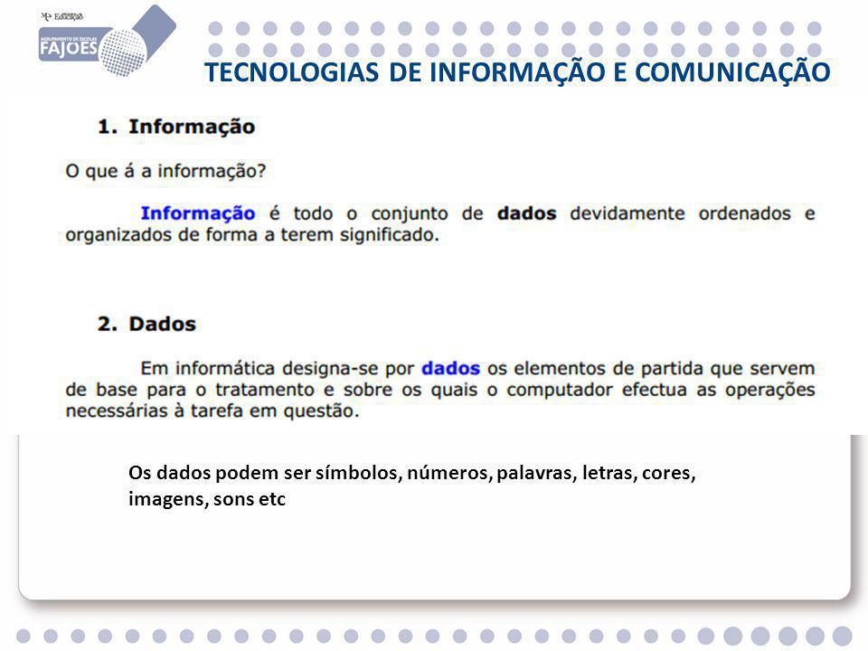 TECNOLOGIAS DE INFORMAÇÃO E COMUNICAÇÃO Os dados podem ser símbolos, números, palavras, letras, cores, imagens, sons etc
