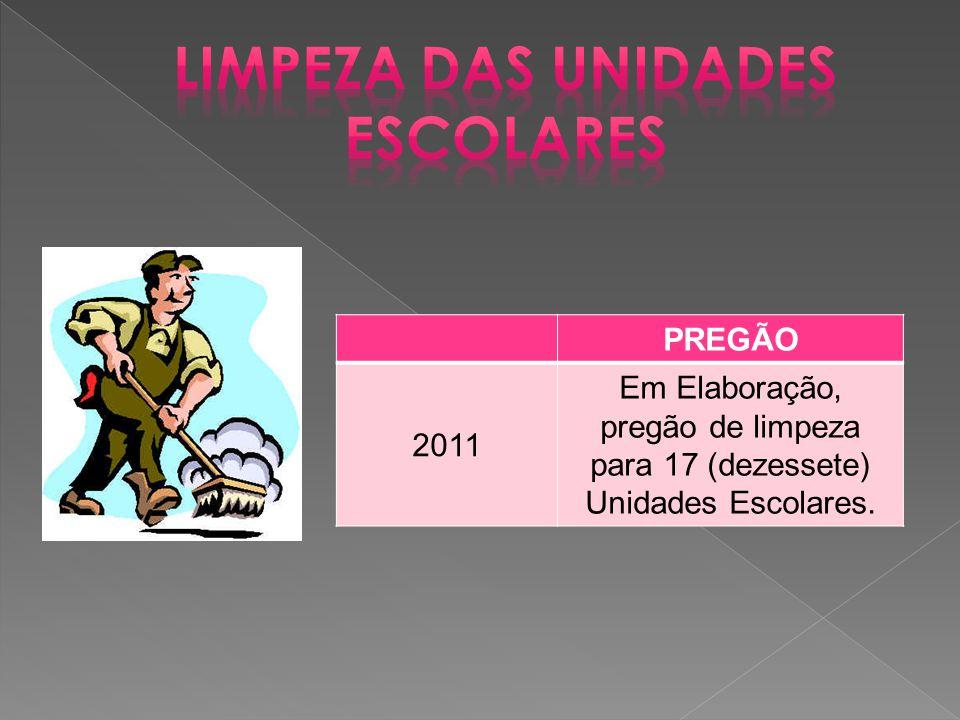 PREGÃO 2011 Em Elaboração, pregão de limpeza para 17 (dezessete) Unidades Escolares.