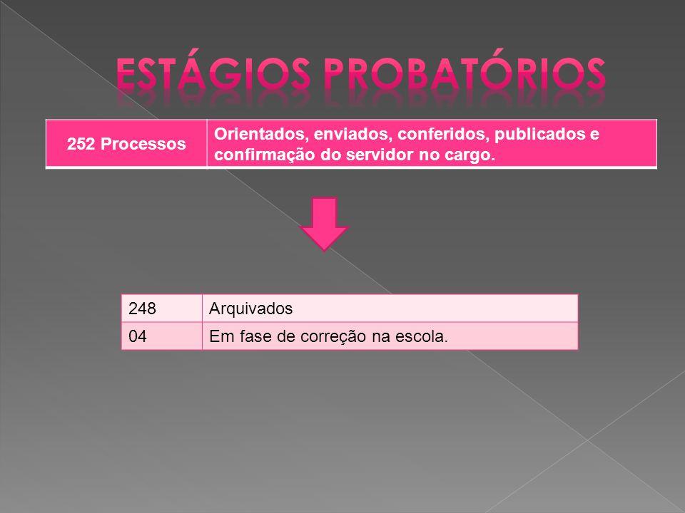 252 Processos Orientados, enviados, conferidos, publicados e confirmação do servidor no cargo.