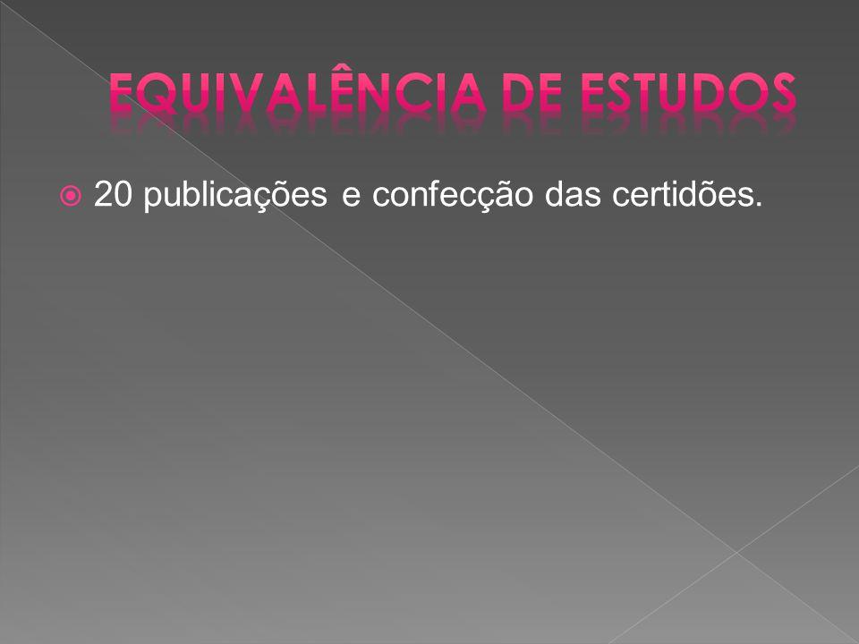  20 publicações e confecção das certidões.