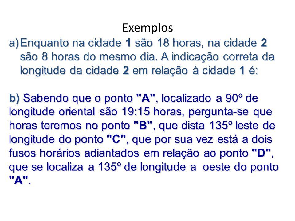 Exemplos a)Enquanto na cidade 1 são 18 horas, na cidade 2 são 8 horas do mesmo dia.