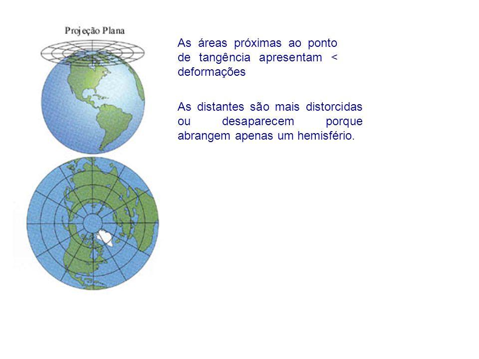 As áreas próximas ao ponto de tangência apresentam < deformações As distantes são mais distorcidas ou desaparecem porque abrangem apenas um hemisfério.