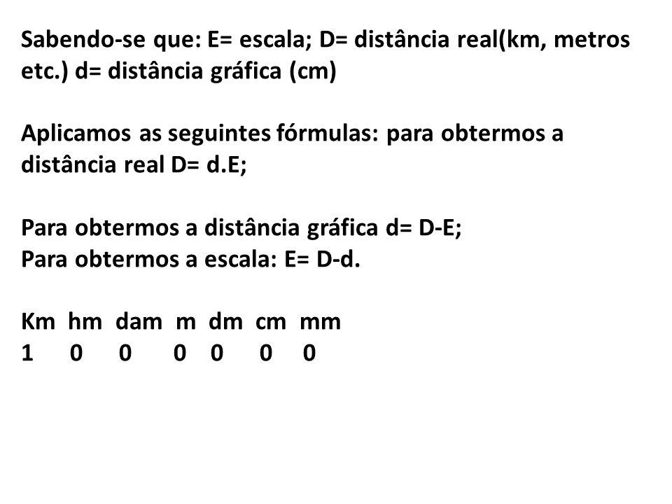 Sabendo-se que: E= escala; D= distância real(km, metros etc.) d= distância gráfica (cm) Aplicamos as seguintes fórmulas: para obtermos a distância real D= d.E; Para obtermos a distância gráfica d= D-E; Para obtermos a escala: E= D-d.
