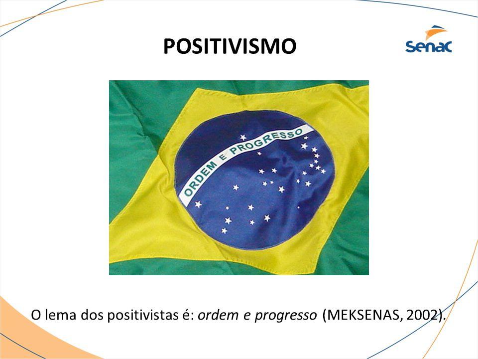 POSITIVISMO O lema dos positivistas é: ordem e progresso (MEKSENAS, 2002).
