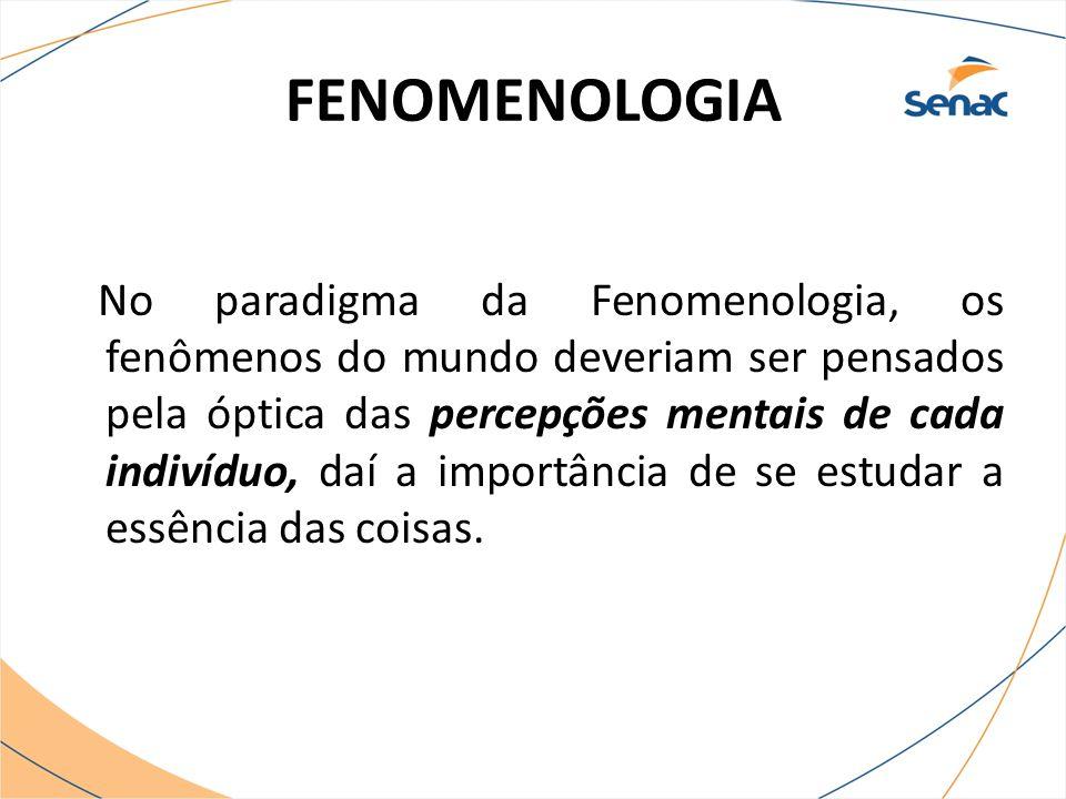 FENOMENOLOGIA No paradigma da Fenomenologia, os fenômenos do mundo deveriam ser pensados pela óptica das percepções mentais de cada indivíduo, daí a i