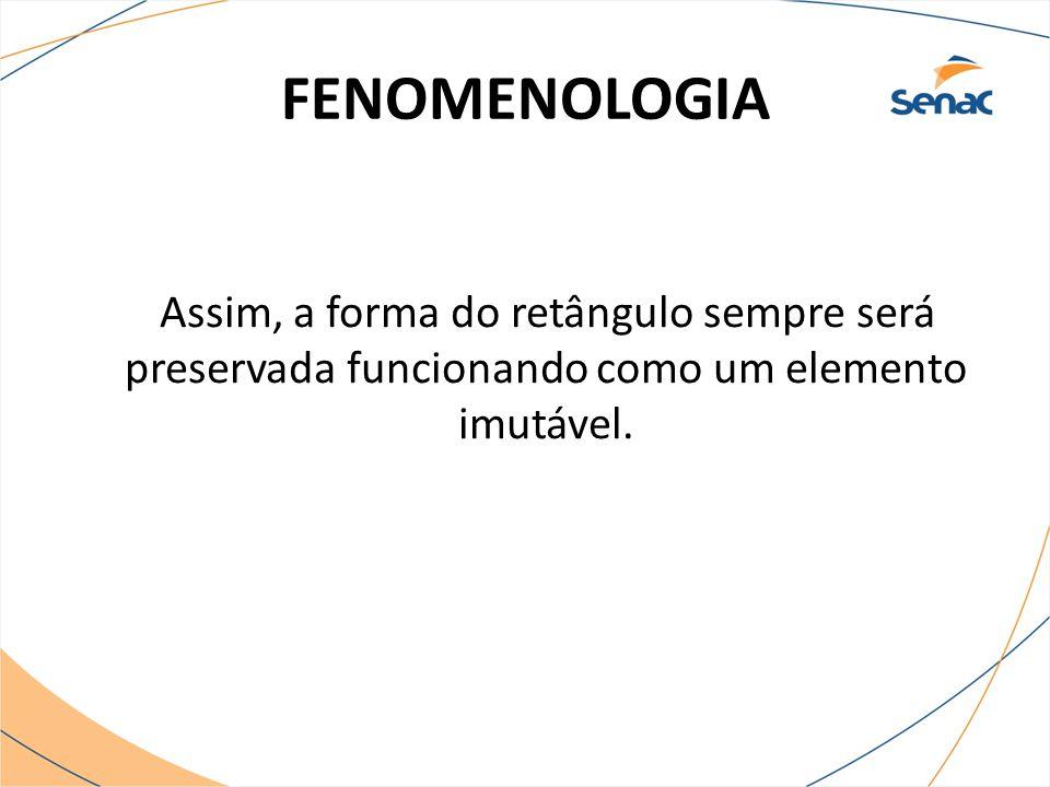 FENOMENOLOGIA Assim, a forma do retângulo sempre será preservada funcionando como um elemento imutável.