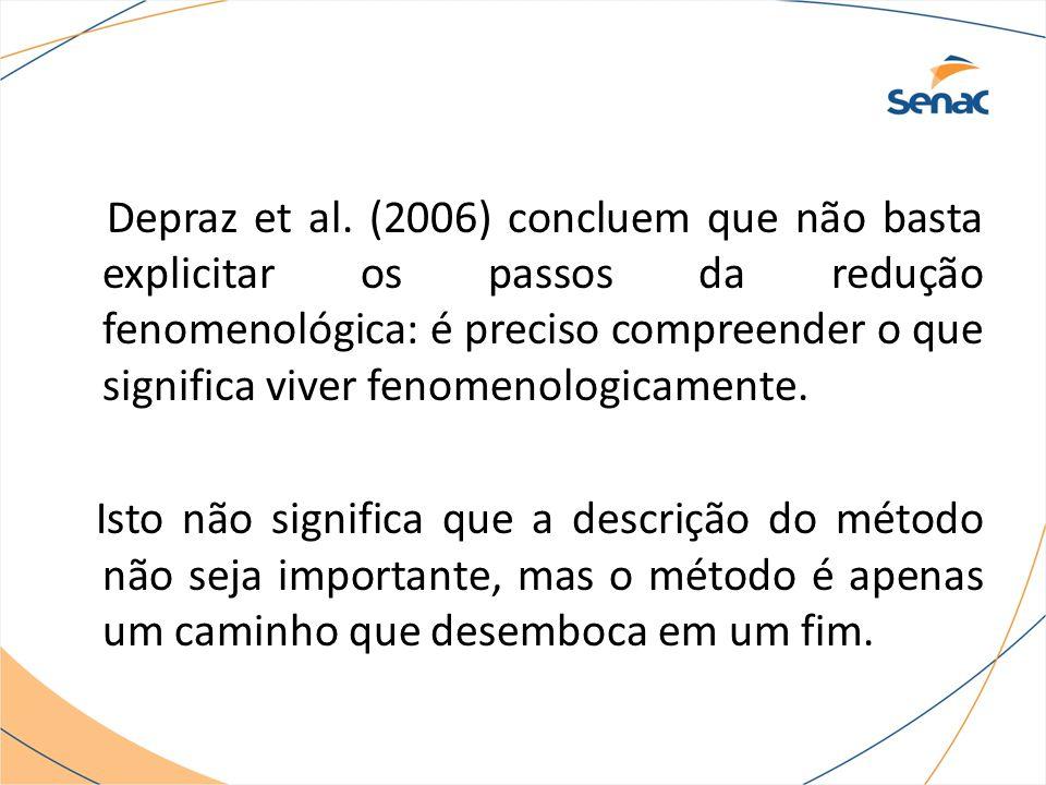 Depraz et al. (2006) concluem que não basta explicitar os passos da redução fenomenológica: é preciso compreender o que significa viver fenomenologica