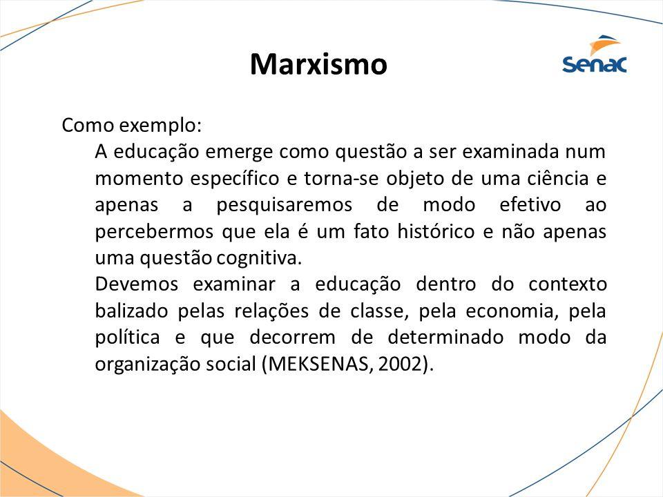 Marxismo Como exemplo: A educação emerge como questão a ser examinada num momento específico e torna-se objeto de uma ciência e apenas a pesquisaremos
