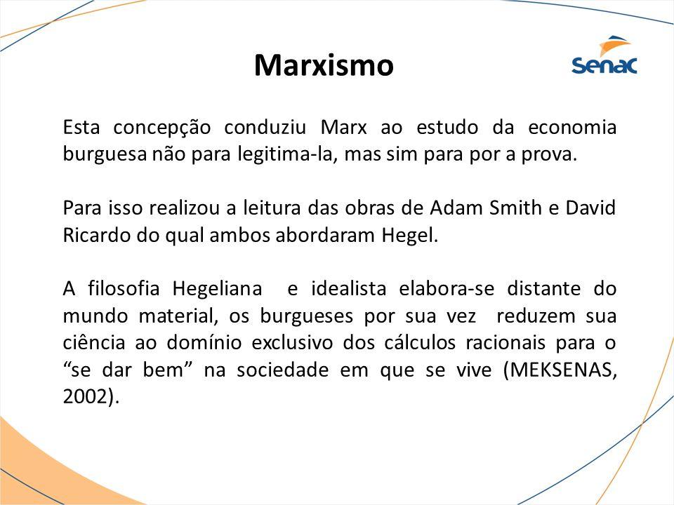 Marxismo Esta concepção conduziu Marx ao estudo da economia burguesa não para legitima-la, mas sim para por a prova. Para isso realizou a leitura das
