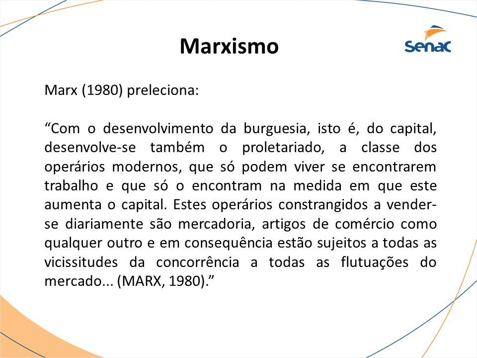 """Marxismo Marx (1980) preleciona: """"Com o desenvolvimento da burguesia, isto é, do capital, desenvolve-se também o proletariado, a classe dos operários"""