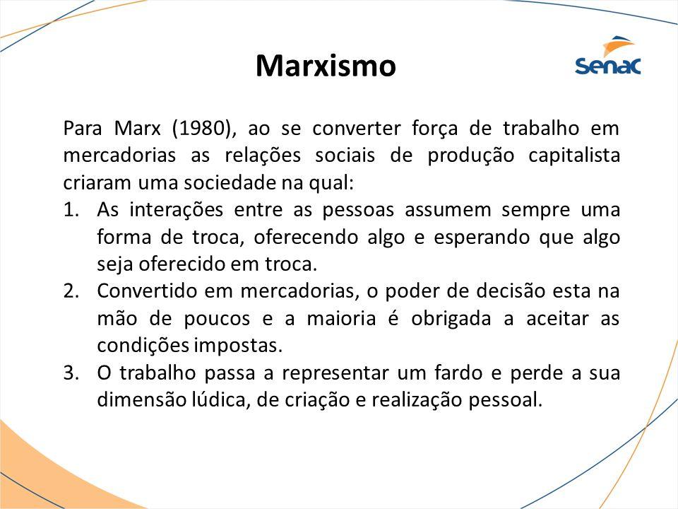 Marxismo Para Marx (1980), ao se converter força de trabalho em mercadorias as relações sociais de produção capitalista criaram uma sociedade na qual: