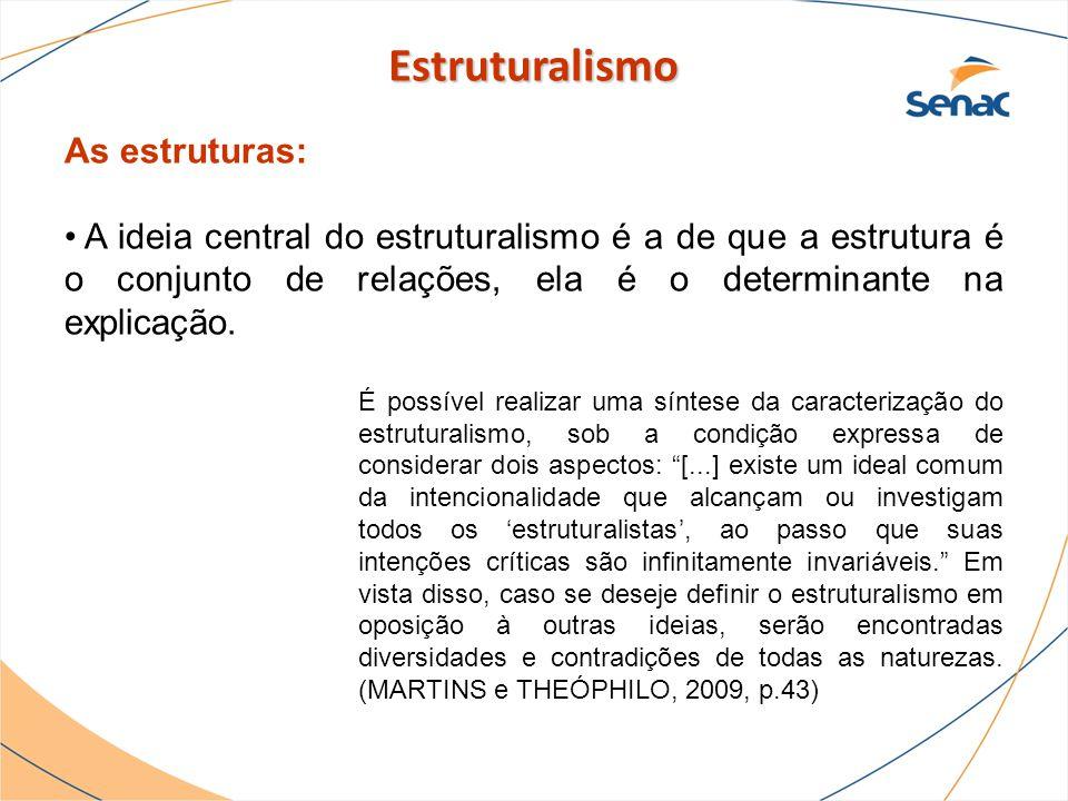 As estruturas: A ideia central do estruturalismo é a de que a estrutura é o conjunto de relações, ela é o determinante na explicação. É possível reali
