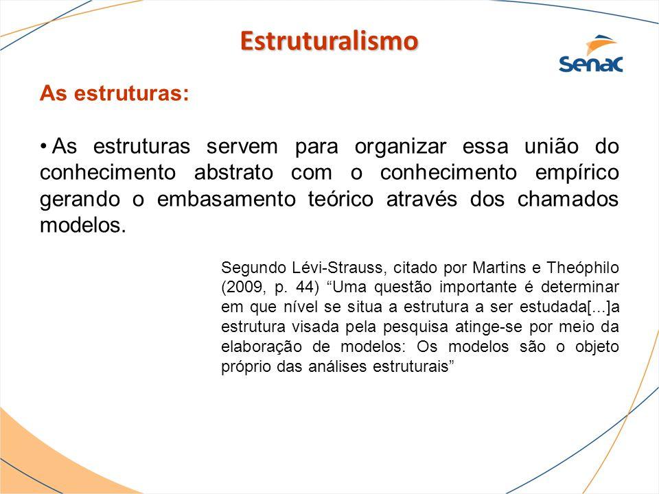 As estruturas: As estruturas servem para organizar essa união do conhecimento abstrato com o conhecimento empírico gerando o embasamento teórico atrav