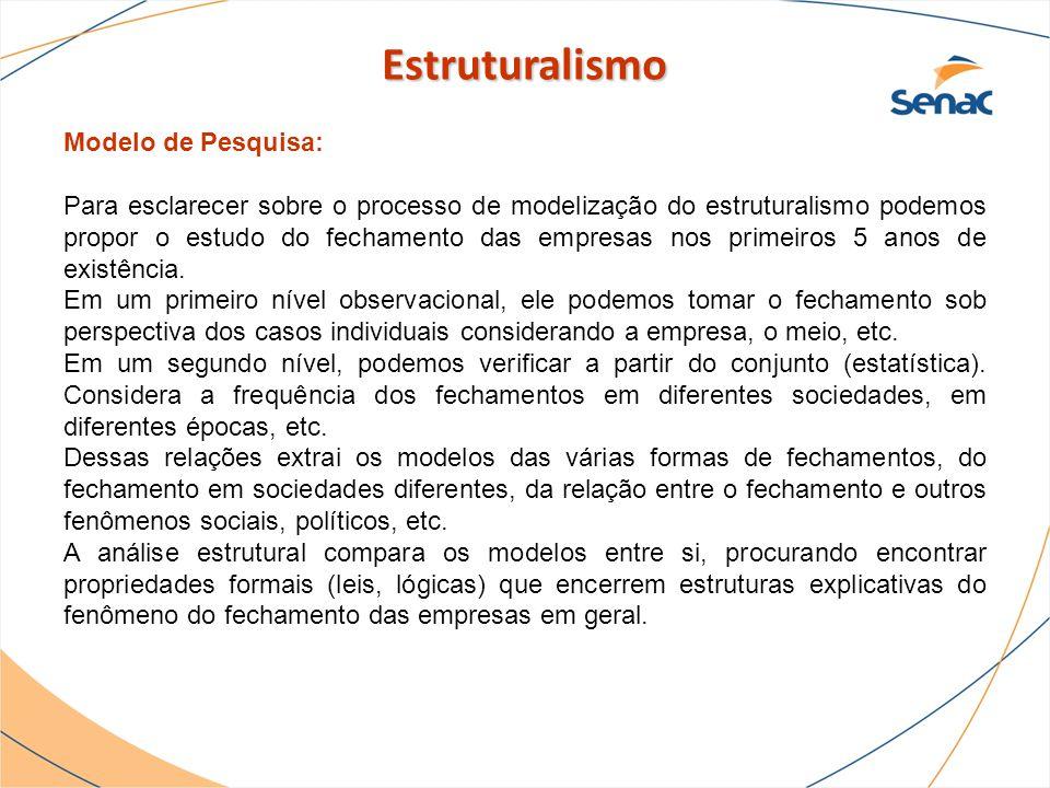 Modelo de Pesquisa: Para esclarecer sobre o processo de modelização do estruturalismo podemos propor o estudo do fechamento das empresas nos primeiros