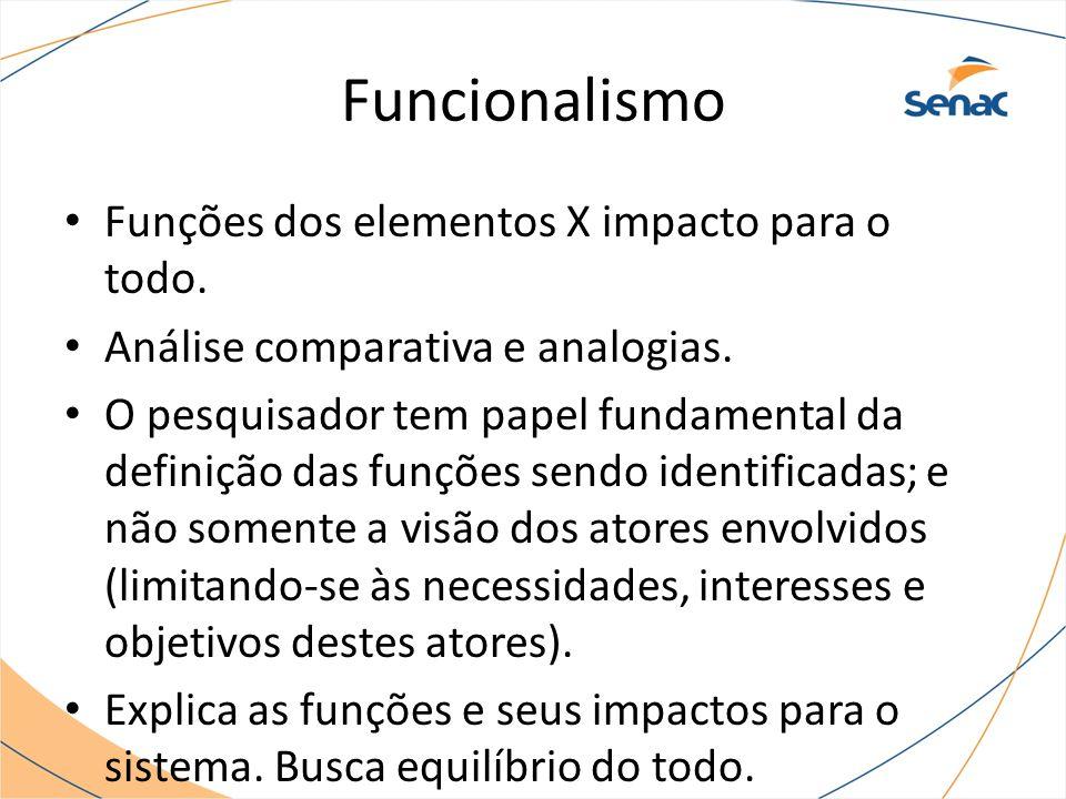 Funções dos elementos X impacto para o todo. Análise comparativa e analogias. O pesquisador tem papel fundamental da definição das funções sendo ident
