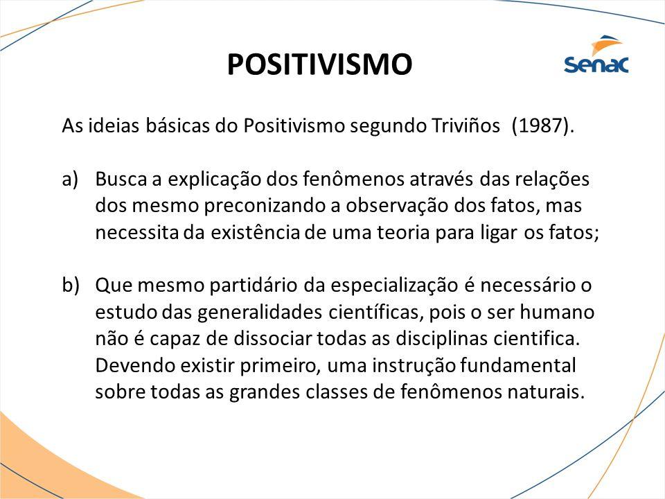POSITIVISMO As ideias básicas do Positivismo segundo Triviños (1987). a)Busca a explicação dos fenômenos através das relações dos mesmo preconizando a