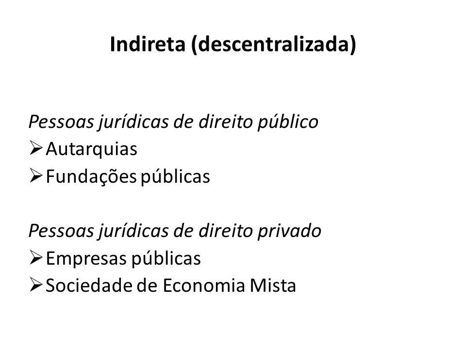 Indireta (descentralizada) Pessoas jurídicas de direito público  Autarquias  Fundações públicas Pessoas jurídicas de direito privado  Empresas públicas  Sociedade de Economia Mista