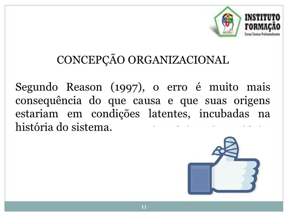 CONCEPÇÃO ORGANIZACIONAL Segundo Reason (1997), o erro é muito mais consequência do que causa e que suas origens estariam em condições latentes, incubadas na história do sistema.