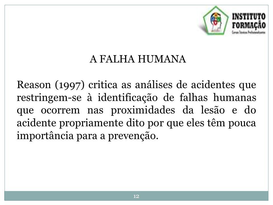 A FALHA HUMANA Reason (1997) critica as análises de acidentes que restringem-se à identificação de falhas humanas que ocorrem nas proximidades da lesão e do acidente propriamente dito por que eles têm pouca importância para a prevenção.