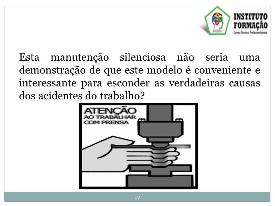 Esta manutenção silenciosa não seria uma demonstração de que este modelo é conveniente e interessante para esconder as verdadeiras causas dos acidentes do trabalho.