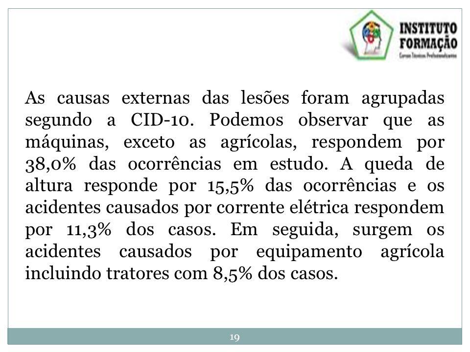 As causas externas das lesões foram agrupadas segundo a CID-10.