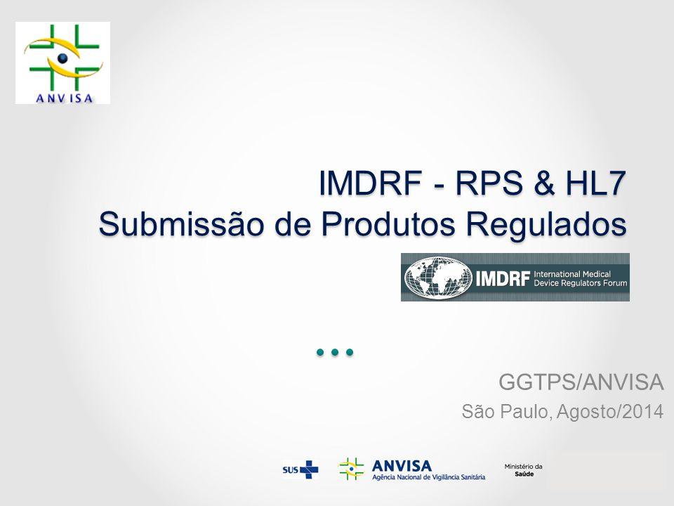 IMDRF - RPS & HL7 Submissão de Produtos Regulados GGTPS/ANVISA São Paulo, Agosto/2014