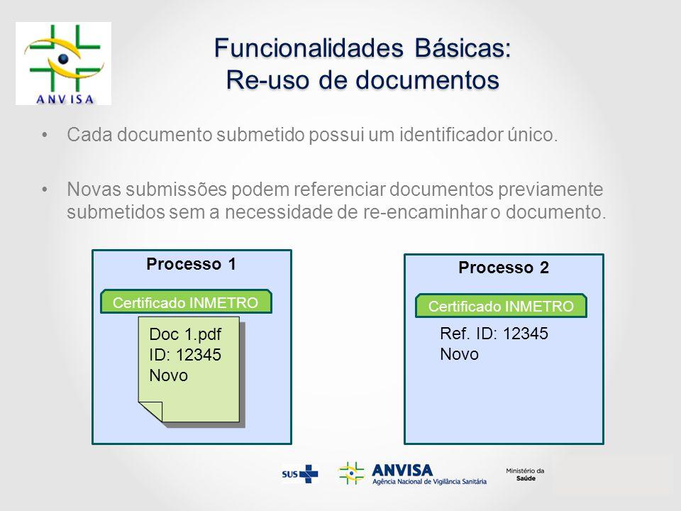 Cada documento submetido possui um identificador único. Novas submissões podem referenciar documentos previamente submetidos sem a necessidade de re-e