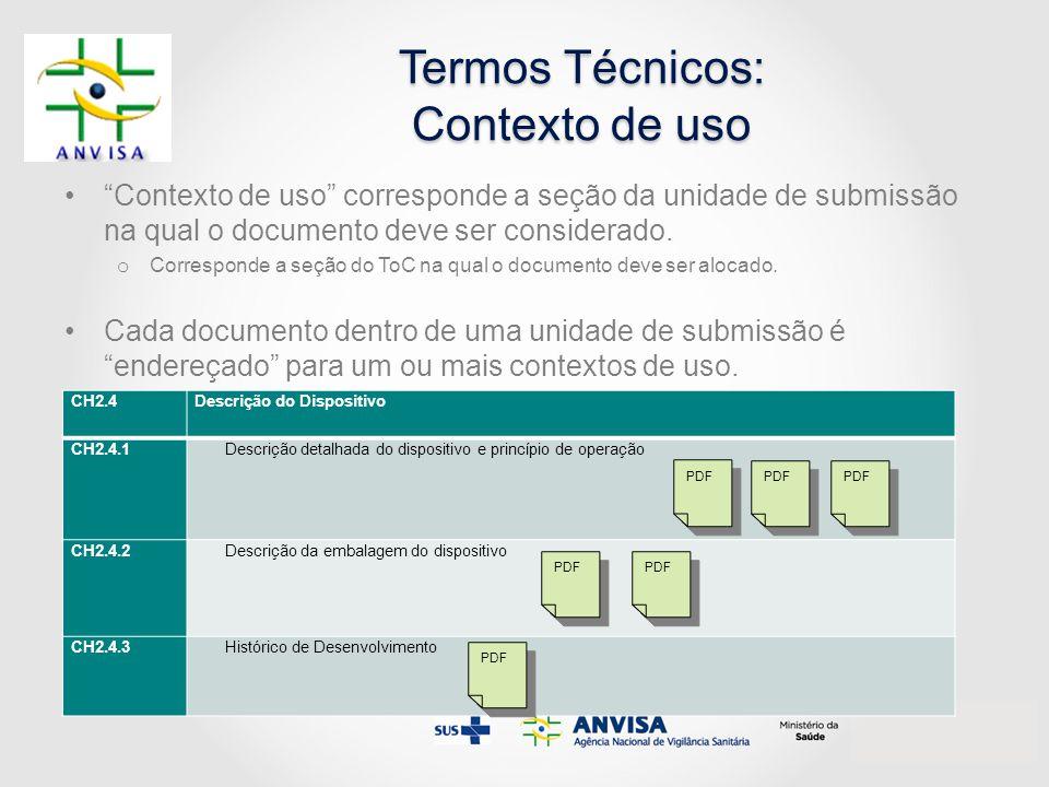 """Termos Técnicos: Contexto de uso """"Contexto de uso"""" corresponde a seção da unidade de submissão na qual o documento deve ser considerado. o Corresponde"""