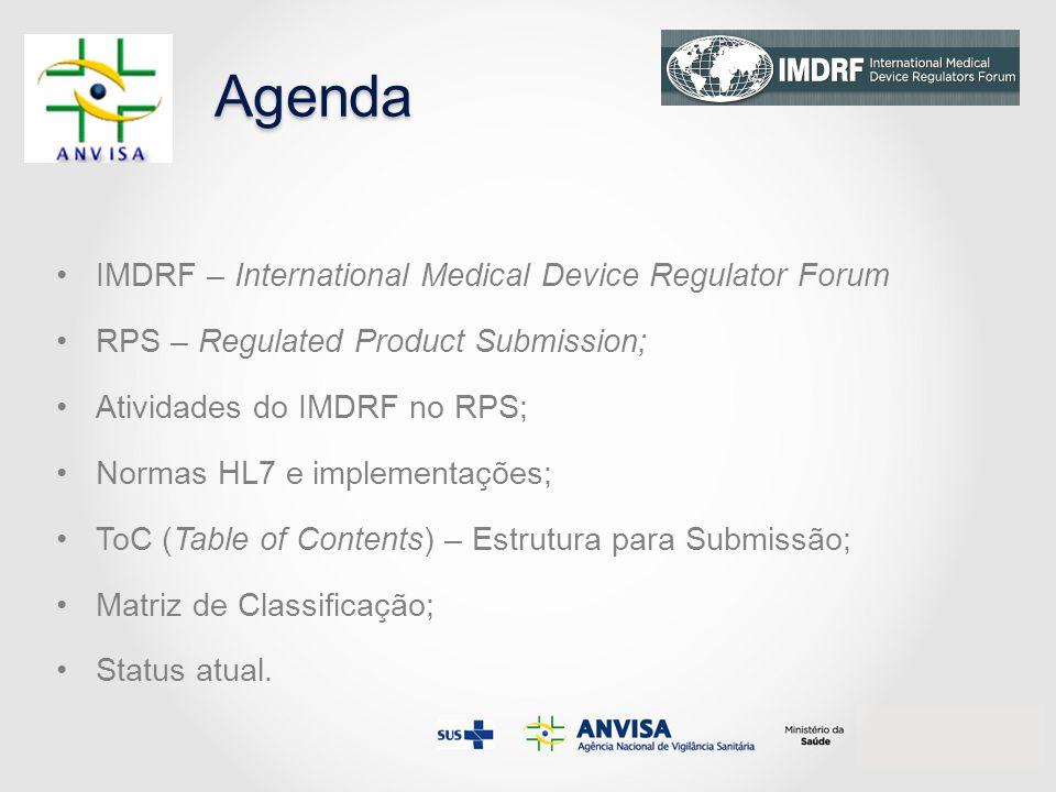 Agenda IMDRF – International Medical Device Regulator Forum RPS – Regulated Product Submission; Atividades do IMDRF no RPS; Normas HL7 e implementações; ToC (Table of Contents) – Estrutura para Submissão; Matriz de Classificação; Status atual.