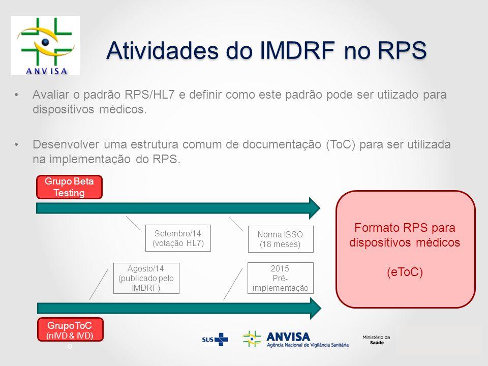 Atividades do IMDRF no RPS Avaliar o padrão RPS/HL7 e definir como este padrão pode ser utiizado para dispositivos médicos. Desenvolver uma estrutura