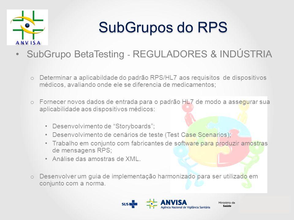 SubGrupos do RPS SubGrupo BetaTesting - REGULADORES & INDÚSTRIA o Determinar a aplicabildade do padrão RPS/HL7 aos requisitos de dispositivos médicos,