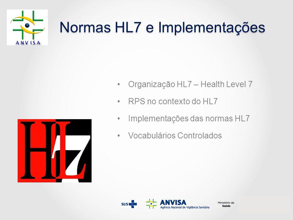Normas HL7 e Implementações Organização HL7 – Health Level 7 RPS no contexto do HL7 Implementações das normas HL7 Vocabulários Controlados