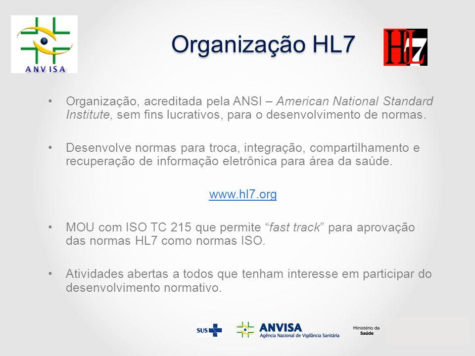 Organização HL7 Organização, acreditada pela ANSI – American National Standard Institute, sem fins lucrativos, para o desenvolvimento de normas. Desen