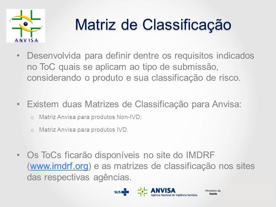 Matriz de Classificação Desenvolvida para definir dentre os requisitos indicados no ToC quais se aplicam ao tipo de submissão, considerando o produto