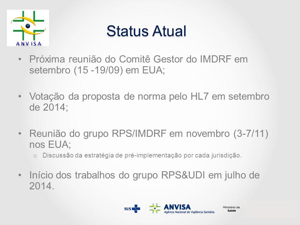 Status Atual Próxima reunião do Comitê Gestor do IMDRF em setembro (15 -19/09) em EUA; Votação da proposta de norma pelo HL7 em setembro de 2014; Reun